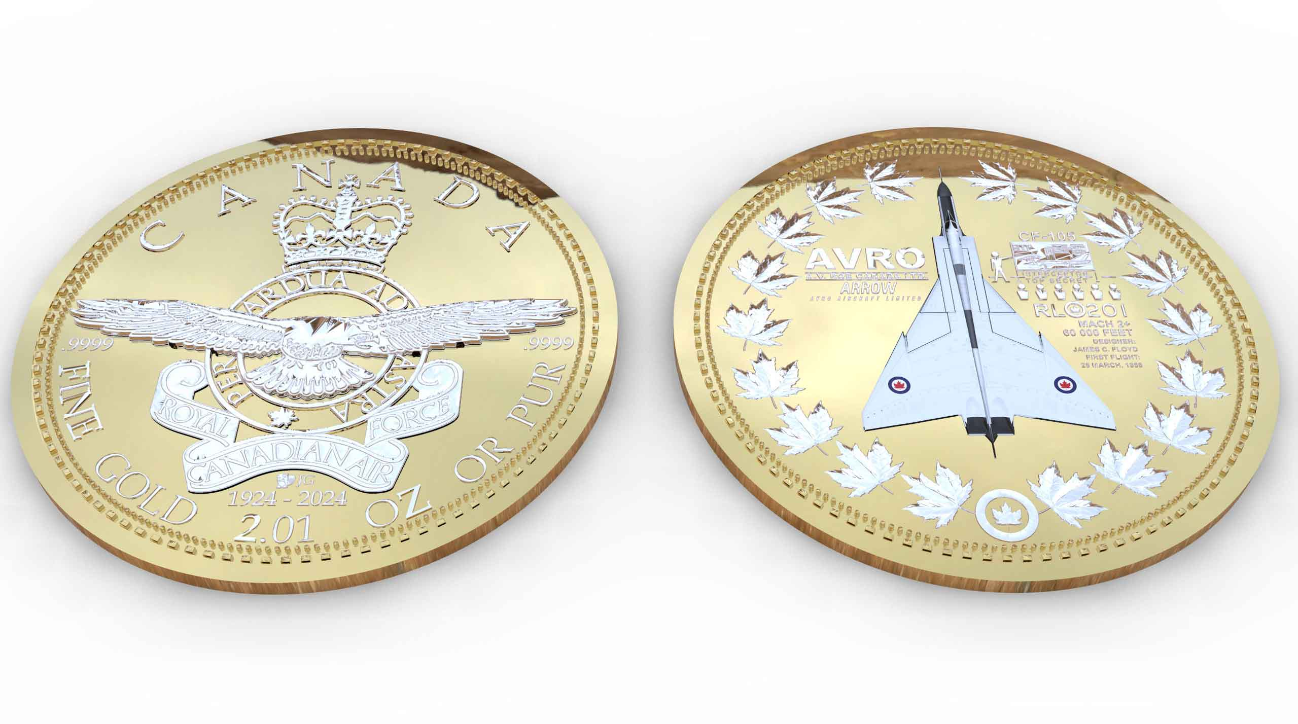 Serial# RL-202 Avro Arrow Gold Coin